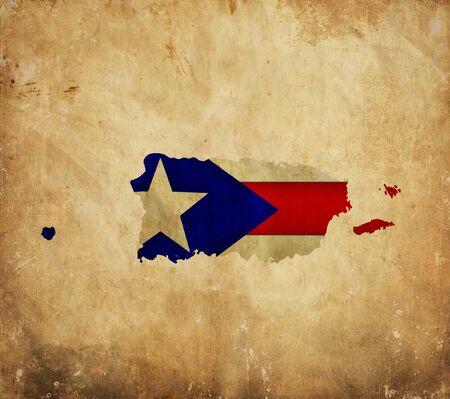 bandera de puerto rico: Mapa de cosecha de Puerto Rico en el papel del grunge Foto de archivo