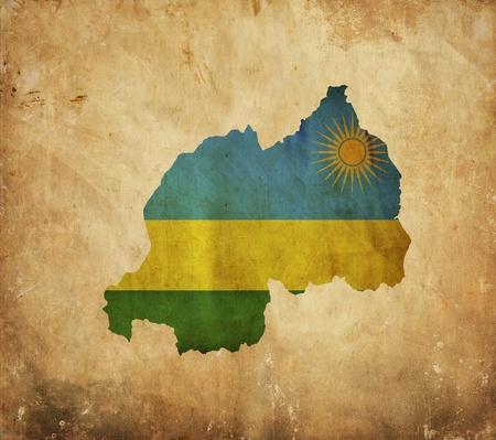 rwanda: Vintage map of Rwanda on grunge paper  Stock Photo