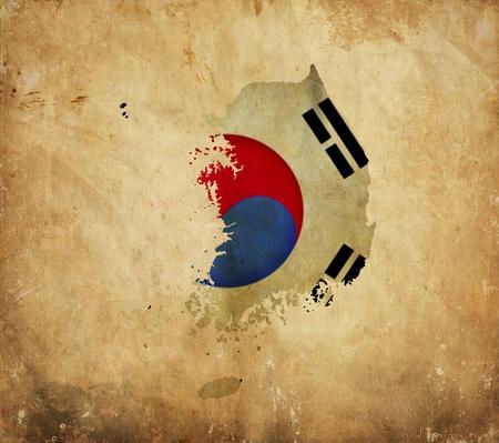 Vintage map of South Korea on grunge paper