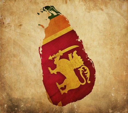 lanka: Vintage map of Sri Lanka on grunge paper Stock Photo
