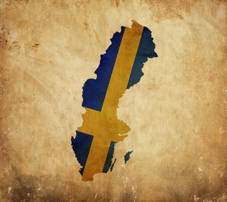 sweden flag: Vintage map of Sweden on grunge paper  Stock Photo