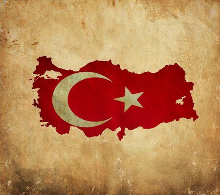 Vintage map of Turkey on grunge paper  photo