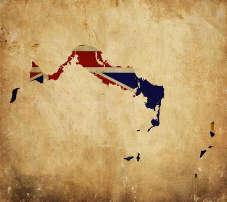 turks: Mapa de cosecha de las Islas Turcas y Caicos en el papel del grunge Foto de archivo