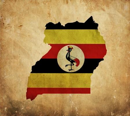 uganda: Vintage map of Uganda on grunge paper