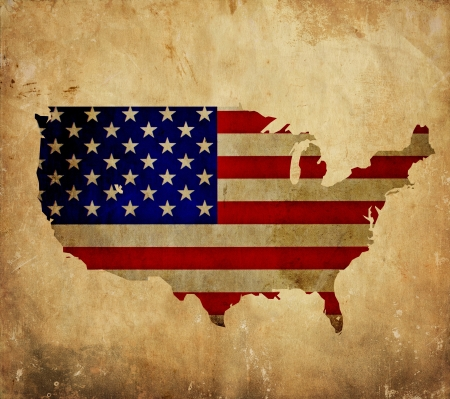 Vintage map of United States of America on grunge paper  photo