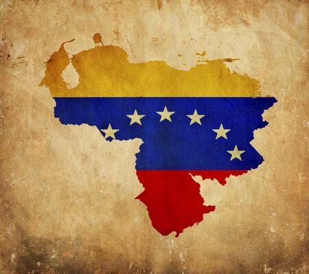 Venezuela flag: Mapa de cosecha de Venezuela en el papel del grunge