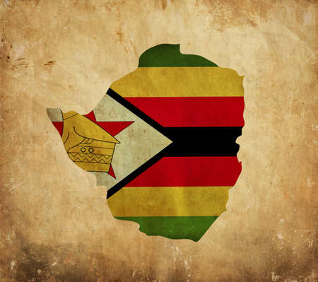 graphical chart: Vintage map of Zimbabwe on grunge paper