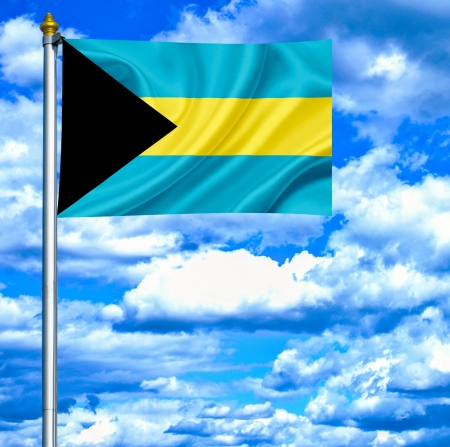 bahamas celebration: Bahamas waving flag against blue sky Stock Photo