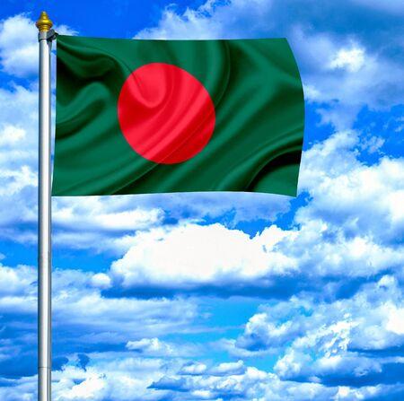 bangladesh 3d: Bangladesh waving flag against blue sky Stock Photo