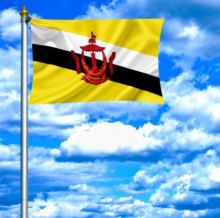 brunei: Brunei waving flag against blue sky