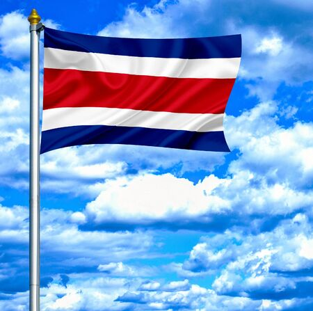 Costa Rica waving flag against blue sky