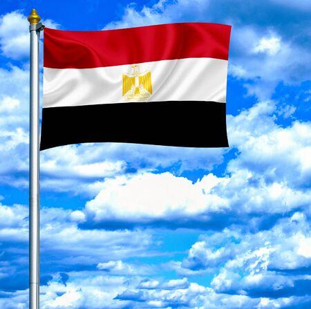 Egypt waving flag against blue sky photo