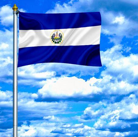 el salvador flag: El Salvador waving flag against blue sky