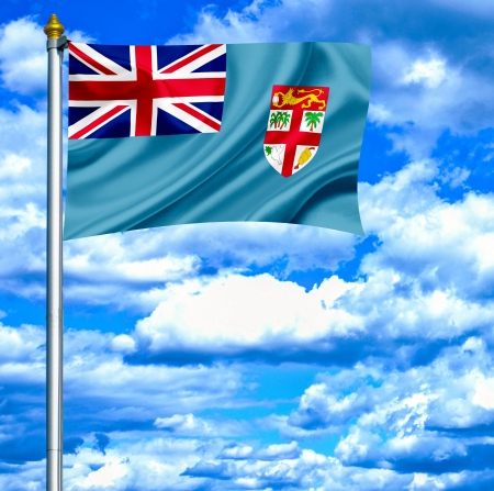 fiji: Fiji waving flag against blue sky
