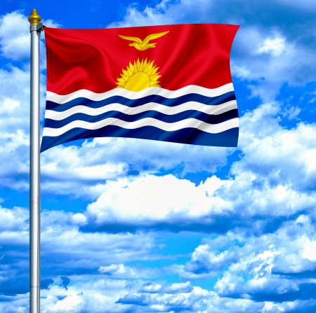 kiribati: Kiribati waving flag against blue sky
