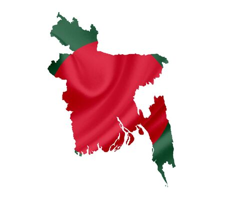 national colors: Map of Bangladesh with waving flag isolated on white