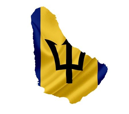 barbados: Map of Barbados with waving flag isolated on white Stock Photo