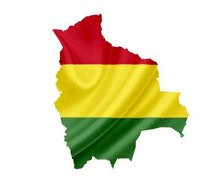 bandera bolivia: Mapa de Bolivia con la bandera ondeando aislados en blanco Foto de archivo