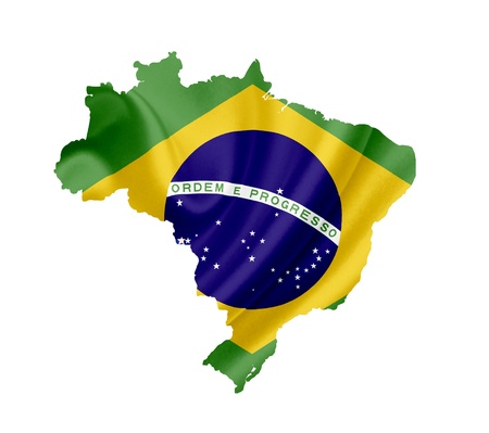 brazil symbol: Map of Brazil with waving flag isolated on white