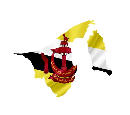 map of brunei: Map of Brunei with waving flag isolated on white Stock Photo