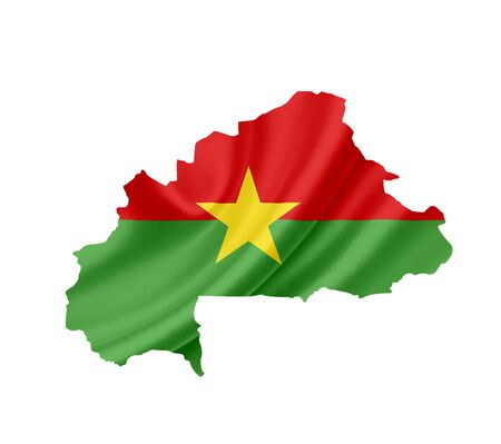 Map of Burkina Faso with waving flag isolated on white photo