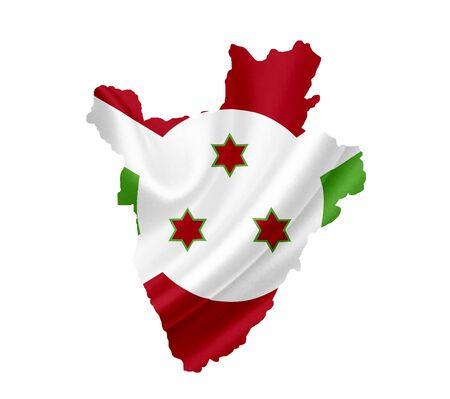 Map of Burundi with waving flag isolated on white photo