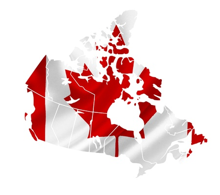 map of canada: Map of Canada with waving flag isolated on white Stock Photo