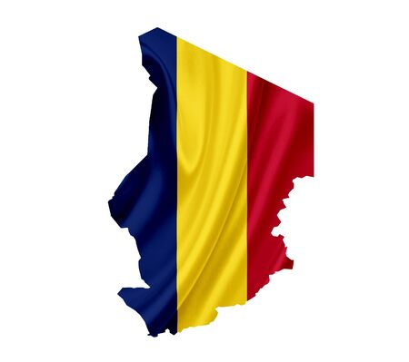 Map of Chad with waving flag isolated on white Stock Photo