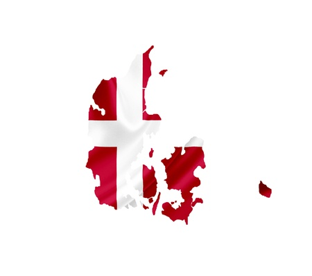 Map of Denmark with waving flag isolated on white photo