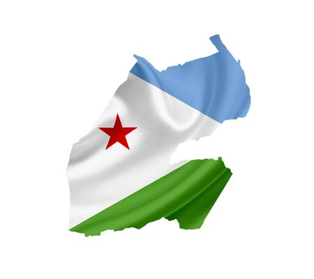 Map of Djibouti with waving flag isolated on white photo