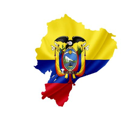 republic of ecuador: Map of Ecuador with waving flag isolated on white Stock Photo
