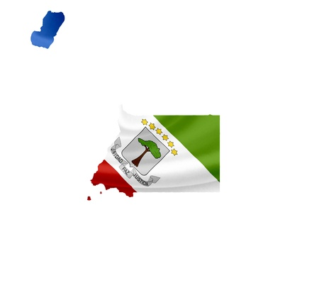 Map of Equatorial Guinea with waving flag isolated on white photo
