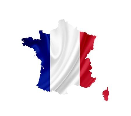 bandera francia: Mapa de Francia con la bandera ondeando aislados en blanco Foto de archivo