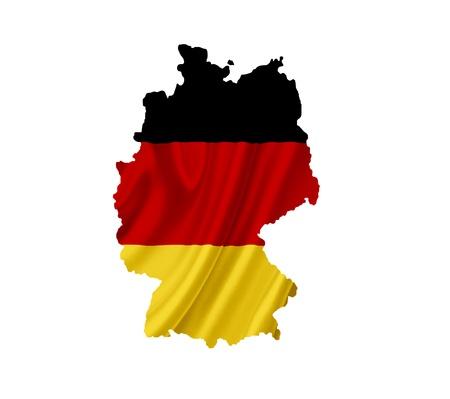 bandera de alemania: Mapa de Alemania con la bandera ondeando aislados en blanco