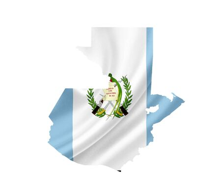 Map of Guatemala with waving flag isolated on white photo