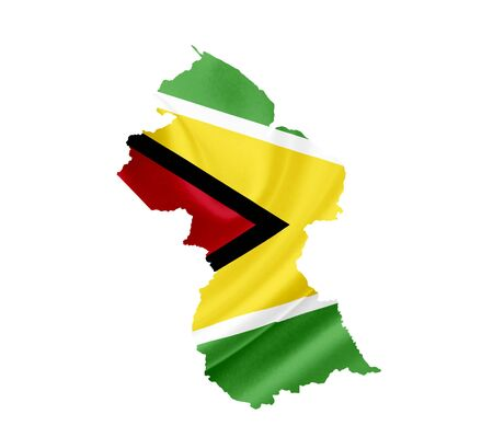 georgetown: Map of Guyana with waving flag isolated on white Stock Photo
