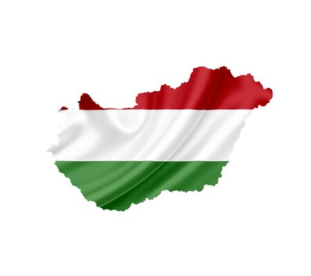 Map of Hungary with waving flag isolated on white photo
