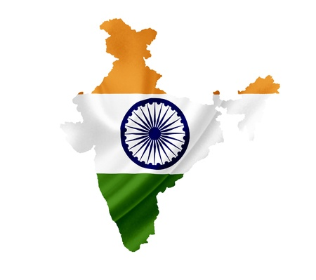 Map of India with waving flag isolated on white photo