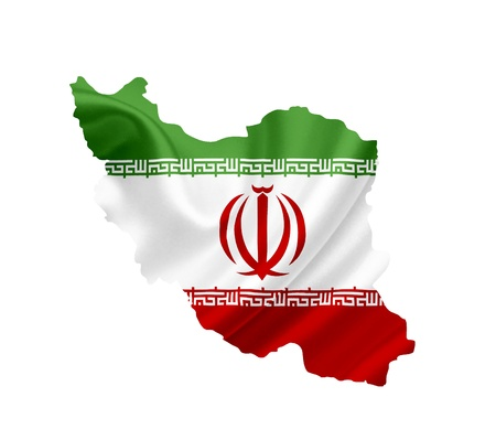 Map of Iran with waving flag isolated on white photo