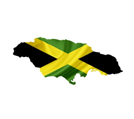 Map of Jamaica with waving flag isolated on white photo