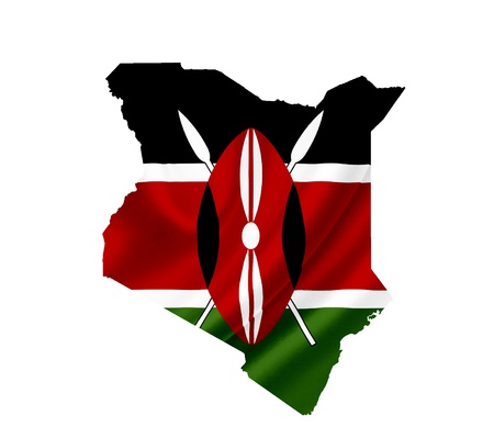 Map of Kenya with waving flag isolated on white photo