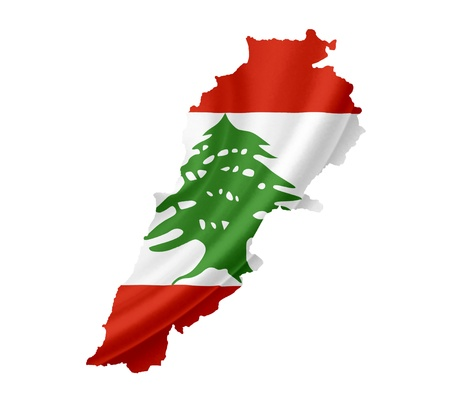 beirut lebanon: Map of Lebanon with waving flag isolated on white