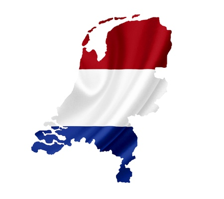 holland flag: Map of Netherlands waving flag isolated on white