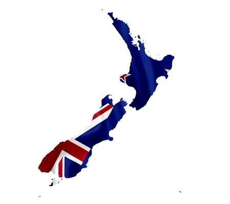 bandera de nueva zelanda: Mapa de Nueva Zelanda con la bandera ondeando aislados en blanco Foto de archivo