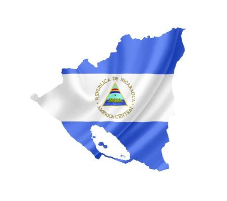 Nicaragua: Map of Nicaragua with waving flag isolated on white