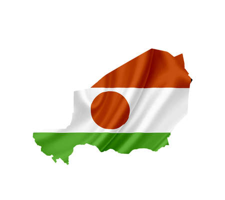 niger: Map of Niger with waving flag isolated on white Stock Photo