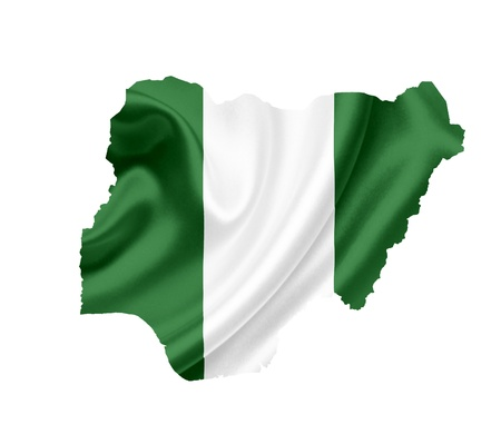 Map of Nigeria with waving flag isolated on white photo