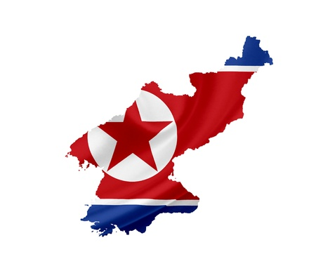 north korea: Map of North Korea with waving flag isolated on white Stock Photo