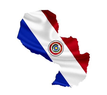 bandera de paraguay: Mapa de Paraguay con la bandera ondeando aislados en blanco Foto de archivo
