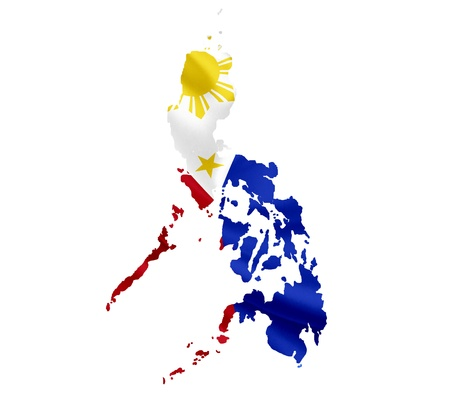 philippines map: Map of Philippines with waving flag isolated on white